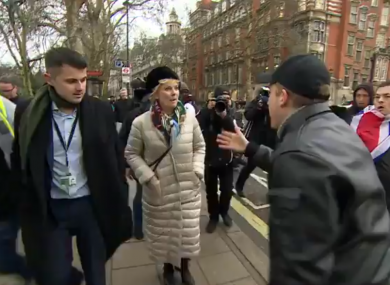 Anna Soubry was confronted by protesters outside Westminster Palace