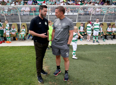 Stephen Bradley and Brendan Rodgers in Tallaght Stadium last July.