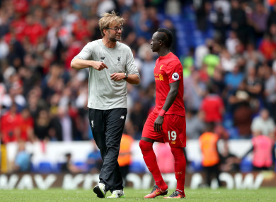 Jurgen Klopp and Sadio Mane.