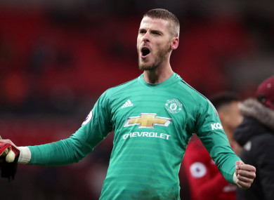 De Gea was named man-of-the-match against Tottenham.