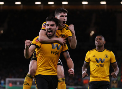 Wolverhampton Wanderers' Ruben Neves celebrates scoring his side's second goal.