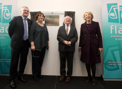L TO R. FLAC chairperson, Peter Ward SC, FLAC chief executive, Eilis Barry with President of Ireland Michael D Higgins and his wife Sabina as he officially open the new FLAC office in Dublin.