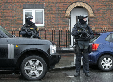 Members of the Garda ERU stand by a Garda Checkpoint in Dublin.