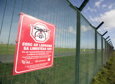 Signs advising the public that Dublin Airport is a Drone Free Zone.
