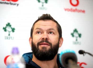 Farrell in the media room of the Aviva Stadium today.