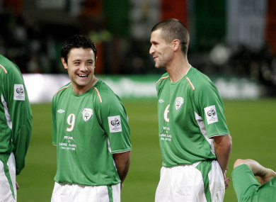 Reid and Keane during a World Cup qualifier against the Faroe Islands in 2004.