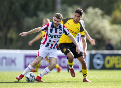 Crowley in action for Dutch side Willem II against Borussia Dortmund last month.