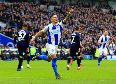 Brighton & Hove Albion's Anthony Knockaert celebrates scoring.