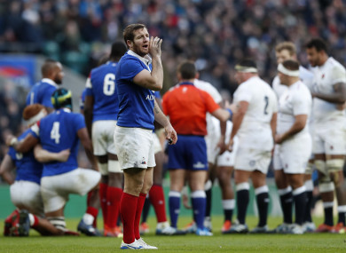 Camille Lopez of France gives instructions to the backline during the Six Nations rugby union international against England.