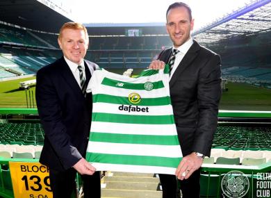 New Celtic boss Neil Lennon and assistant manager John Kennedy.