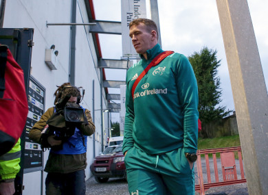 Farrell arriving at Musgrave last night before playing just 18 minutes.