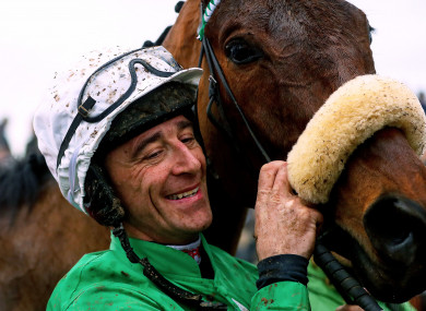 Davy Russell celebrates winning the the John Mulhern Galmoy Hurdle with Presenting Percy in January.