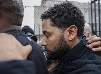 Actor Jussie Smollett pictured leaving Cook County jail following his release yesterday.