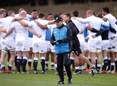 England head coach Eddie Jones during a training session at Pennyhill Park this week.