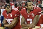 Reid and Kaepernick kneel before an NFL football game against the LA Rams in September 2016.