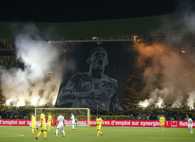 File photo: Fans in Nantes play tribute after Sala's plane disappeared last month.