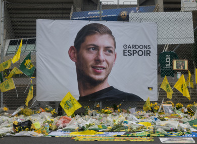 Deposit of wreaths and flowers in memory of Emiliano Sala.