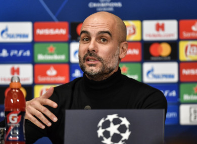 Pep Guardiola speaking at the pre-match press conference.