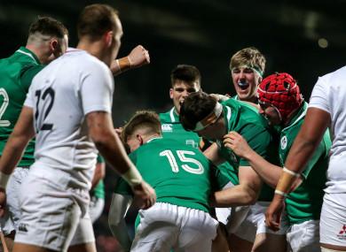 Ireland celebrate Cormac Foley's late try.