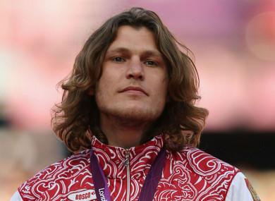 Ivan Ukhov on the podium at the London 2012 Olympics.