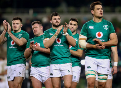 Ireland's Jacob Stockdale, Dave Kilcoyne, Robbie Henshaw, Conor Murray and Quinn Roux