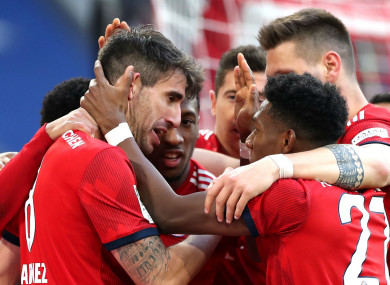 Bayern celebrate Javi Martinez's goal.