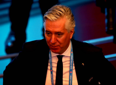 John Delaney, pictured at the Euro 2020 qualifying draw last December.
