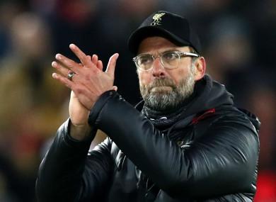 Jurgen Klopp applauds the Anfield crowd
