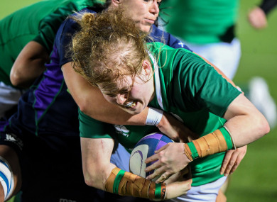 Leah Lyons powered over for one of four Irish tries against Scotland.