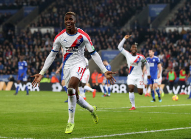 Zaha celebrates scoring a goal for Palace.
