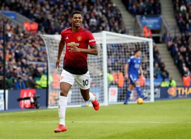 Manchester United's Marcus Rashford celebrates scoring.