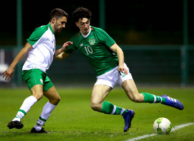 Neil Farrugia (right) in action for the Irish U21s on Wendesday night.