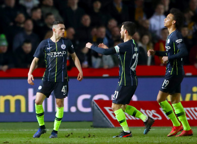 Foden celebrates doubling Man City's lead in the second half.