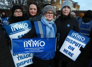 INMO members on the picket line outside Beaumont Hospital in Dublin last Wednesday.