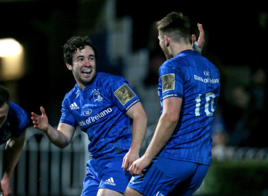 Paddy Patterson celebrates his try with Ross Byrne.