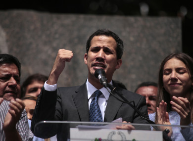 Juan Guaido, who has appointed himself interim president, speaks to supporters in the Venezuelan capital, Caracas.