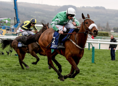 Look before you jump: Presenting Percy, here ridden by Davy Russell, has not competed over fences in some time.