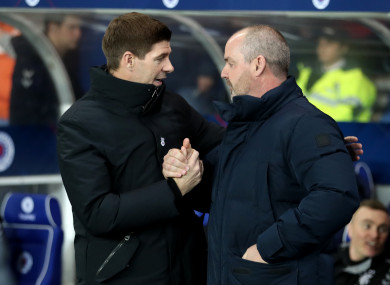 Steven Gerrard, left, and Clarke: Rangers booked their place in the quarter-finals with 5-0 win.