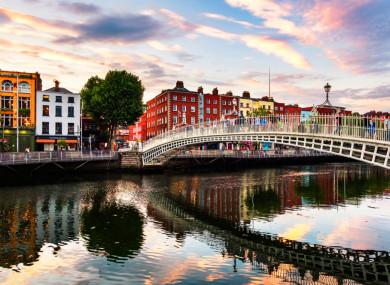 The Ha'penny Bridge in Dublin city.