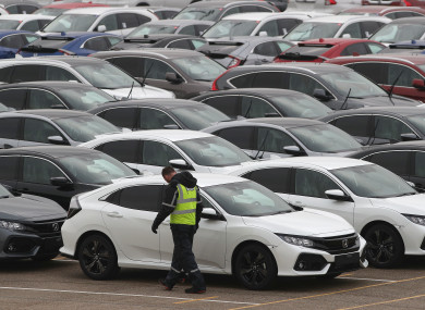 Honda cars lined up at Southampton Docks prior to being loaded onto a car container (file photo)