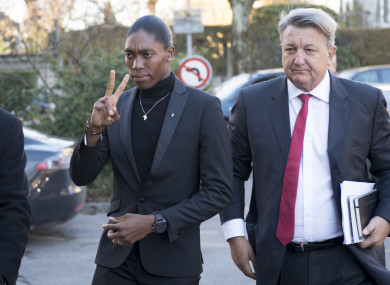Caster Semenya and her lawyer Gregory Nott arrive for the first day of a hearing at the international Court of Arbitration for Sport, CAS, in Lausanne, Switzerland.