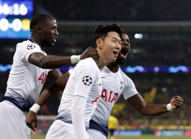 Tottenham Hotspur's Son Heung-min celebrates scoring.