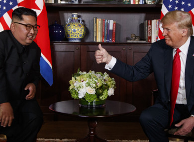 Donald Trump meets North Korean leader Kim Jong Un in Singapore in June 2018.