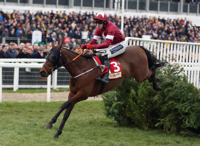 Tiger Roll ridden by Keith Donoghue on their way to winning the Glenfarclas Chase.