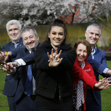 Aoife McGivney - the nurse who saved the life of a bus driver (centre) - pictured at the launch of the Irish Heart Foundation's new free community CPR training programme, Hands for Life, with others supporting the initiative.
