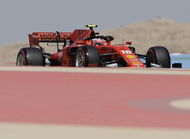 Ferrari driver Charles Leclerc during the first free practice at the Formula One Bahrain International Circuit.