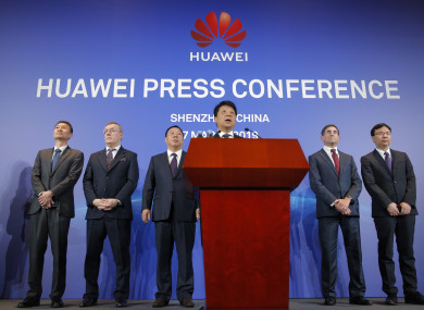 Huawei Rotating Chairman Guo Ping at a press conference today.