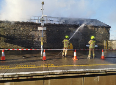 Emergency services dealing with the fire this evening.