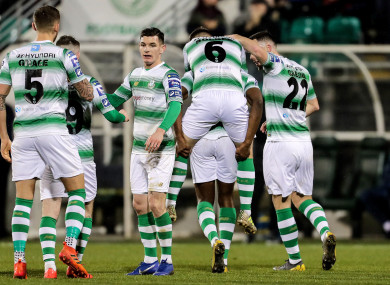 Shamrock Rovers' Daniel Carr celebrates scoring a goal with Greg Bolger and Aaron Greene.