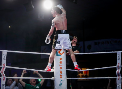 Eric Donovan celebrates stopping Stephen McAfee in the fourth round.